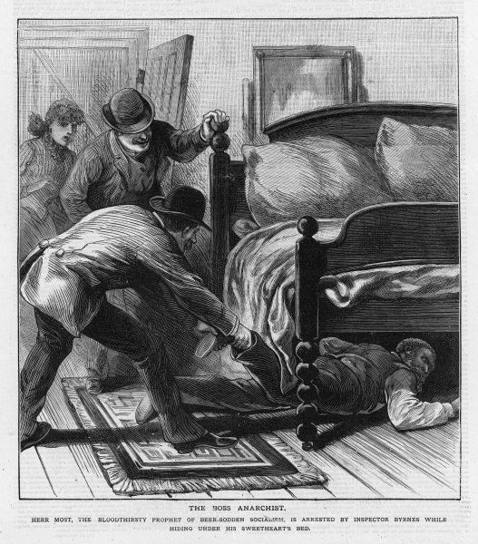 The influential anarchist leader, Johann Most, is discovered in hiding under a bed, and arrested