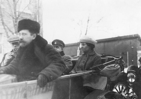 Anastasia Bitsenko (also spelt Biecenko and Bizenko) in a motor car on the way to the peace negotiations which led to the signing of the Treaty of Brest-Litovsk on 3rd March 1918 between the Central Powers headed by Germany and newly-Bolshevik Russia