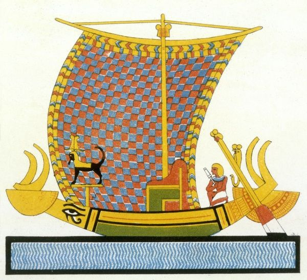 A sailing galley, protected from its enemies not only by the courage of her crew but also by the magic eye of Horus and a 'figurehead' representing Anubis. Date: BC