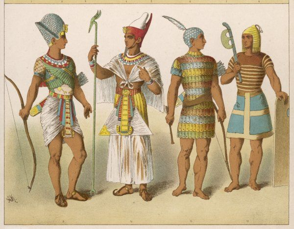 Various Egyptian costumes: Kings in war and ceremonial costume