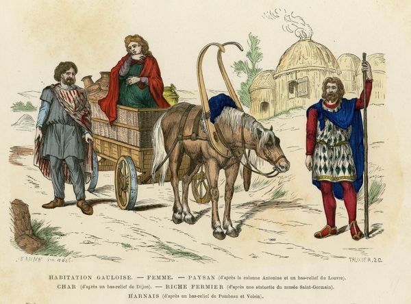 Ancient Gauls - a peasant, a rich farmer and his wife - and their cart and homes : drawn from antique originals