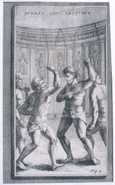 Ancient Roman athletes boxing wearing a cestus (leather glove) on each hand