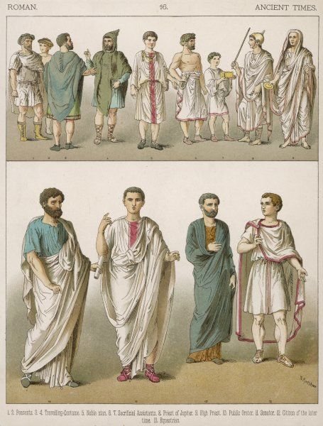Ancient Roman costume for men -- peasants, travellers, nobles, a priest and assistants