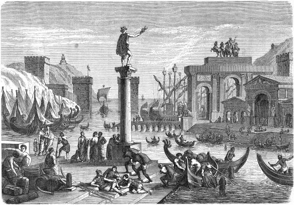An ancient Roman ships in a Roman seaport. Mercury, messenger of the gods and god of commerce, oversees proceedings from atop a column in the harbour. Date