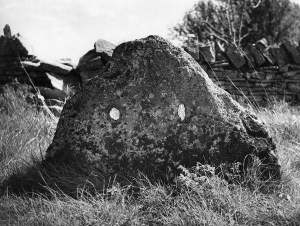 The ancient standing stone now forming a mark on the boundary between the parishes of Cowley and Elkstone, Oxfordshire, England. Date: BC