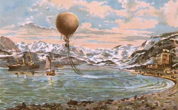 Andree's balloon 'L'Aigle' depicted on the front cover of a book describing his expedition, published at a time when his fate was still unknown Date: July 1897