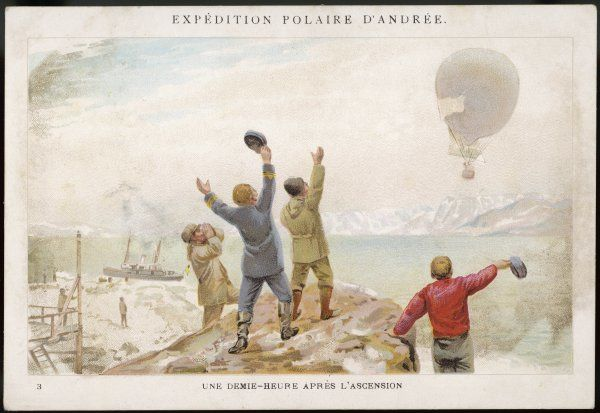 Andree, with Strindberg and Fraenkel, leave Spitzbergen on their adventurous flight, hoping to reach the North Pole : they are depicted half an hour after lift-off
