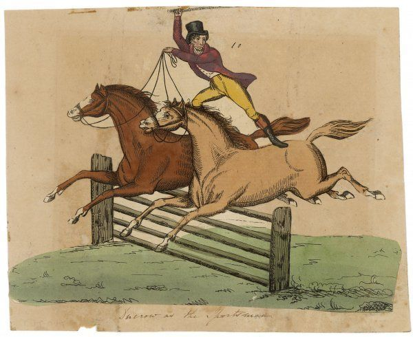 The celebrated equestrian entertainer ANDREW DUCROW demonstrates the art of riding two horses at once