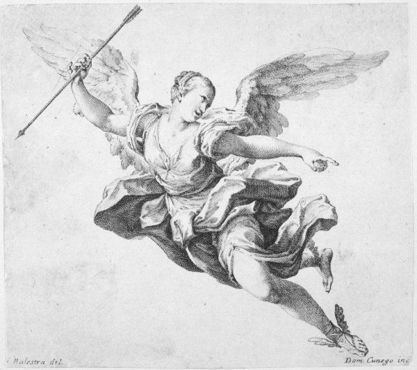 A flying angel carries an arrow in one hand, points with the other