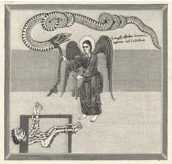 An angel locks the dragon - the Evil One - in the abyss