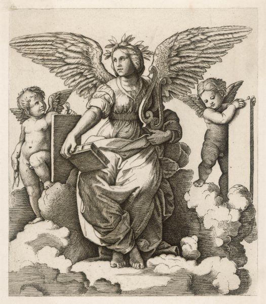 An angel sits holding a book and a lyre, accompanied by cherubim