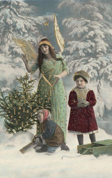 A helpful angel accompanies two children into the woods to help them choose their tree ; thanks to her help, they find one already decorated with candles and dingle-dangles