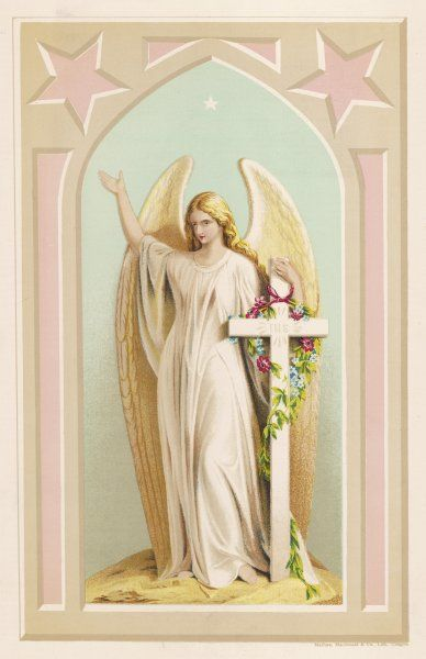 'THE SPIRIT OF FAITH' - an Angel stands by a cross and indicates the general direction of Heaven