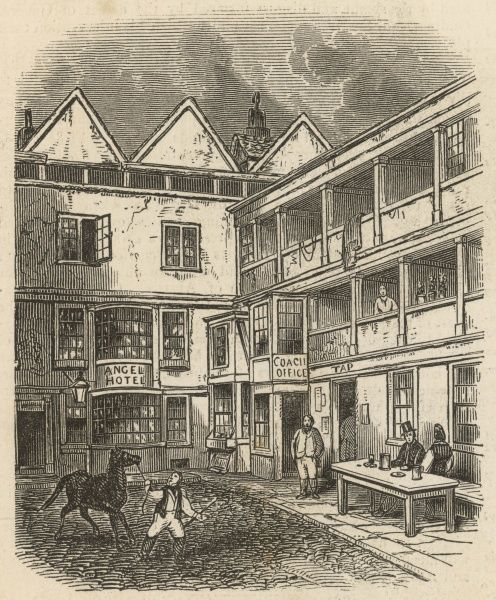 "The historic public house in the parish of St Clement Dane's in the Strand, London. The Illustrated London News notes in 1849 that ""it presents a specimen of the galleried innyard,of which there are few remaining in the metropolis.&quot"