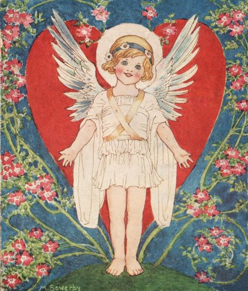 A cheery little angel smiles against a backdrop of a love heart and roses