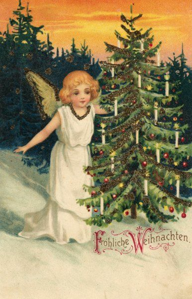 An angel admires a tree which, though out in the woods, is none the less decked with candles and dingle-dangles