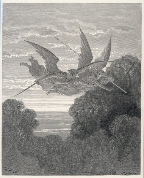 The angels Ithuriel and Zephon fly with sword and lance