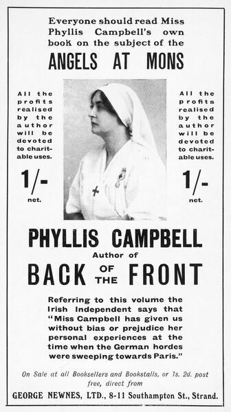 Advertisement for Phyllis Campbell's account of the vision of Angels at Mons who protected the British retreat and turned the tide of the German advance into France