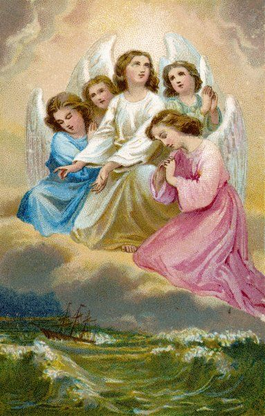 Five angels implore Heaven's mercy on a sailing ship which is in danger of running aground during a storm at sea
