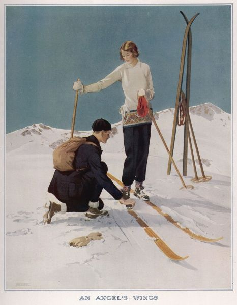 A skiing couple, with the man adjusting his sweetheart's ski