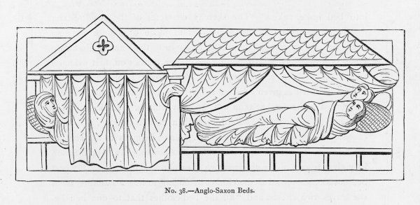 Three people manage to fit into this Anglo-Saxon bed