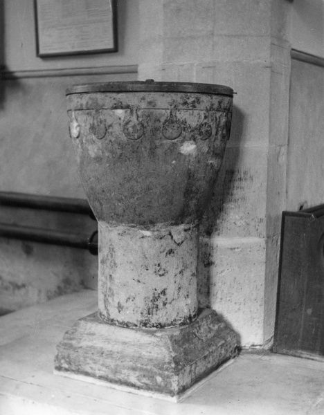An Anglo-Saxon font, at Ansty Church, Wiltshire, England. Date: 10th century