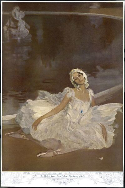 ANNA PAVLOVA Russian ballet dancer as the Dying Swan in a performance of 'Swan Lake' in 1912