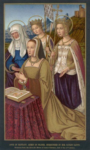 ANNE DE BRETAGNE Queen of France wife of Charles VIII and Louis XII, shown here, with Saint Ursule