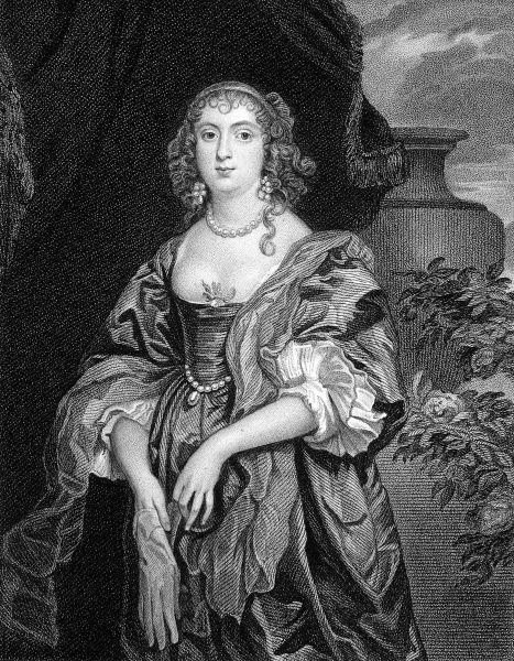 Engraved portrait of Anne Carre, Countess of Bedford (died 1684). This engraving was made from the Vandyke portrait, which was held in the collection of the Earl of Egremont