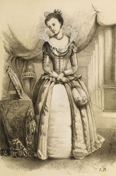 QUEEN OF JAMES I Full-length sketch of Anne of Denmark in an interior setting