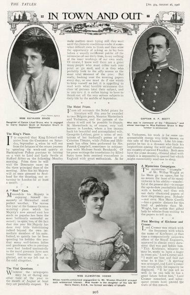 Page from The Tatler announcing not only the engagement of Captain Robert Falcon Scott, the Polar explorer to Kathleen Bruce, but also featuring a portrait of Clementine Hozier, recently engaged to Mr Winston Churchill