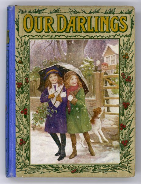 Cover of 'Our Darlings' for 1916, showing two young girls and their dog being pelted with snowballs by a boy