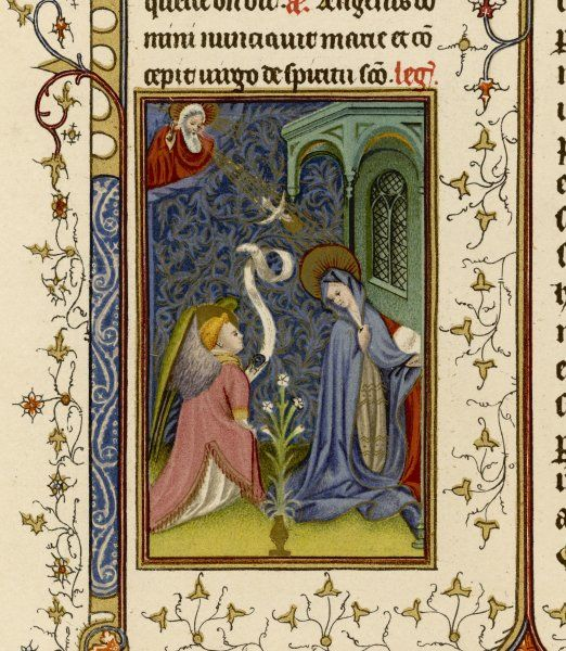 Miniature from a page in a French Breviary, depicting the Annunciation to Mary by an angel, watched by God from up there