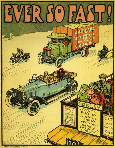Book cover showing a variety of vehicles zooming along a road, including an open top car, a bus, a removal van, a motorcycle and a motorcyle with a sidecar