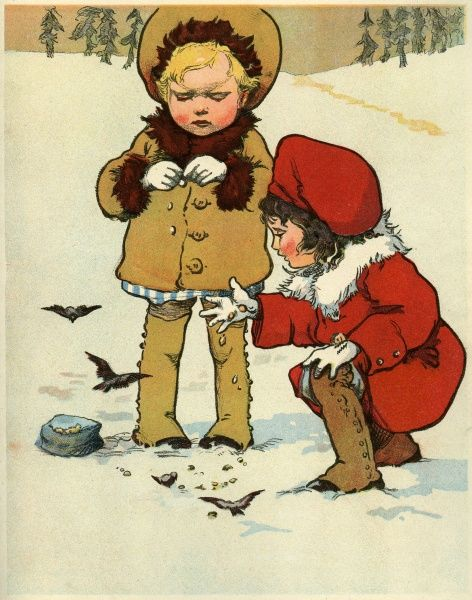 Two small children, smartly dressed in coats, leggings and matching hat feed a small flock of tiny birds bread crumbs in the snow