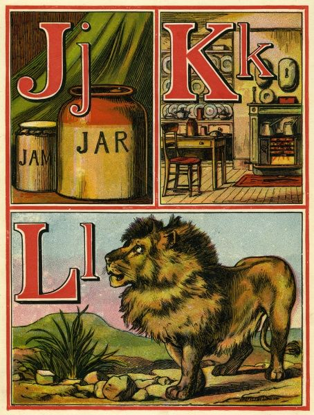 Page from a19th century alphabet book with J for jar, K for kitchen and L for lion. Date: 1875