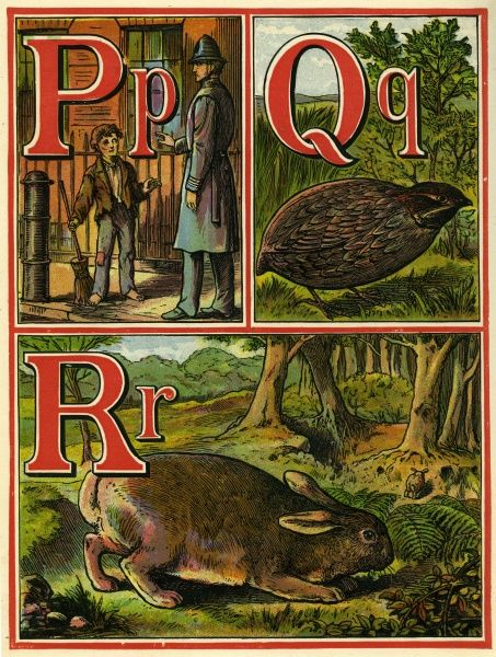 Page from a 19th century alphabet book with P for police man, Q for quail and R for rabbit