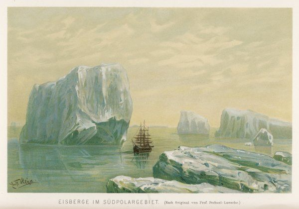 A ship in the Antarctic is dwarfed by icebergs