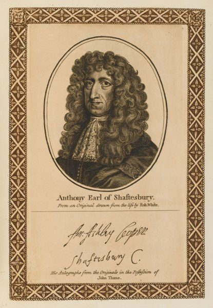ANTHONY ASHLEY COOPER, earl of SHAFTESBURY statesman. with his autograph