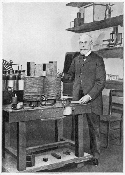 ANTOINE-HENRI BECQUEREL French physicist who won the Nobel prize for physics in 1903, photographed in his laboratory