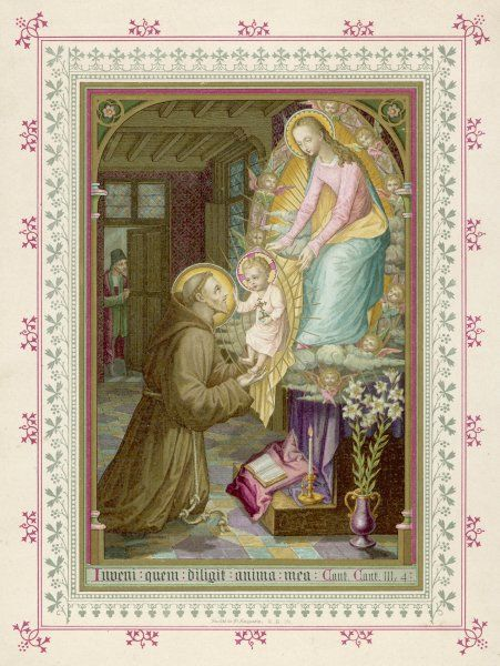 In a vision, Antony sees Mary standing on the chapel altar, and she allows him to hold her son, the infant Jesus, for a while