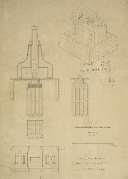 Anvil and base plate for 80 cwt steam hammer, plan, elevation and details Date: 1850