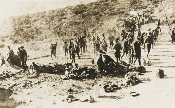 The landing of Australian and New Zealand Troops (ANZAC) at Galipolli, Dardanelles, Turkey during World War One