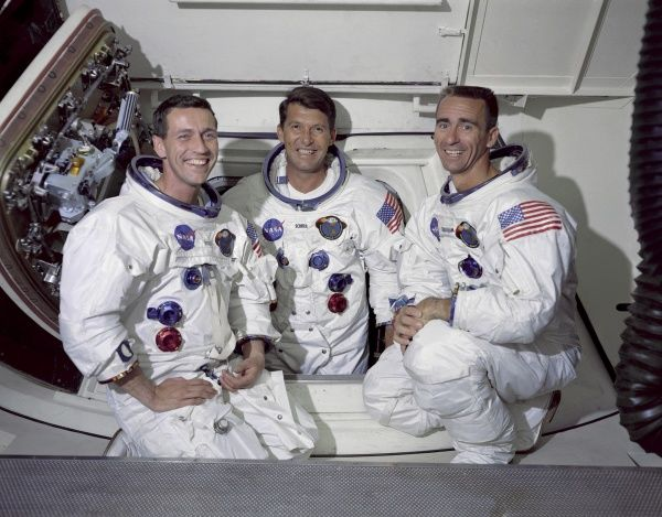 The prime crew of the first manned Apollo space mission (from l to r) Module Pilot Don F Eisele, Commander Walter M Schirra Jr. and Lunar Module pilot Walter Cunningham
