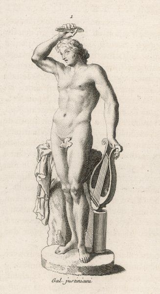 holding a lyre and dressed in a fig-leaf