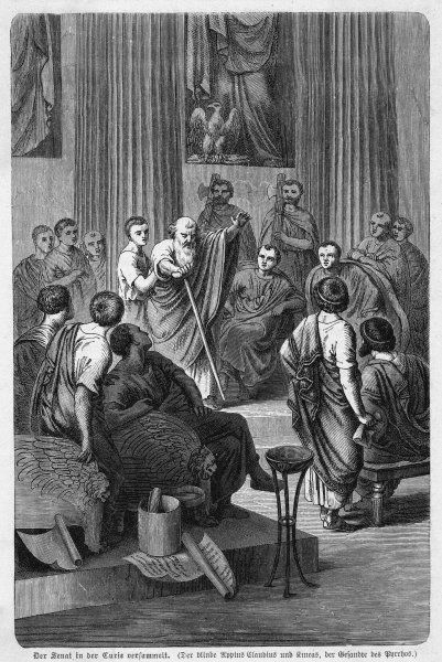 Though old and blind, Appius Claudius convinces the Senate that they should reject the peace proposals offered by Pyrrhus