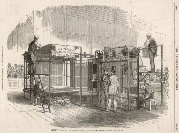 The Illustrated London News being printed at the Great Exhibition on the patented Applegath (often mis-spelled Applegarth) vertical printing-press