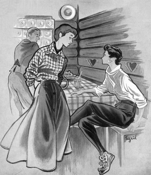 Suggested outfits for apres ski socialising. On the left is a grey and yellow checked wool taffeta blouse by Jaeger worn with their huge, button-through circular felt skirt. Also from Jaeger come the narrow black gabardine slacks with deep cuffs