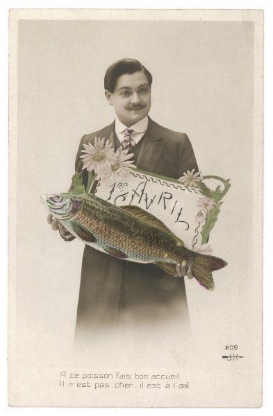 A bizarre photograph showing a French gentleman and a fish 'Poisson d'Avril&#39