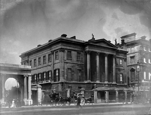 Photograph showing the exterior of Apsley House, London, late 19th century. Apsley House was the home of the 1st Duke of Wellington following his famous victories in the Napoleonic Wars